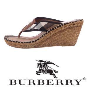 Burberry Nova Check Espadrille Thong Wedges Size 7